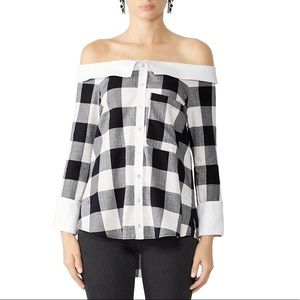 Marissa Webb Amy off shoulder Plaid Blouse small